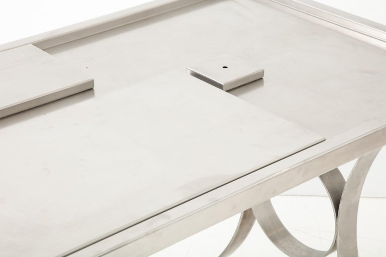 Rare Stainless Steel Table with Smoked Grey Glass Top, France, circa 1970 For Sale 9