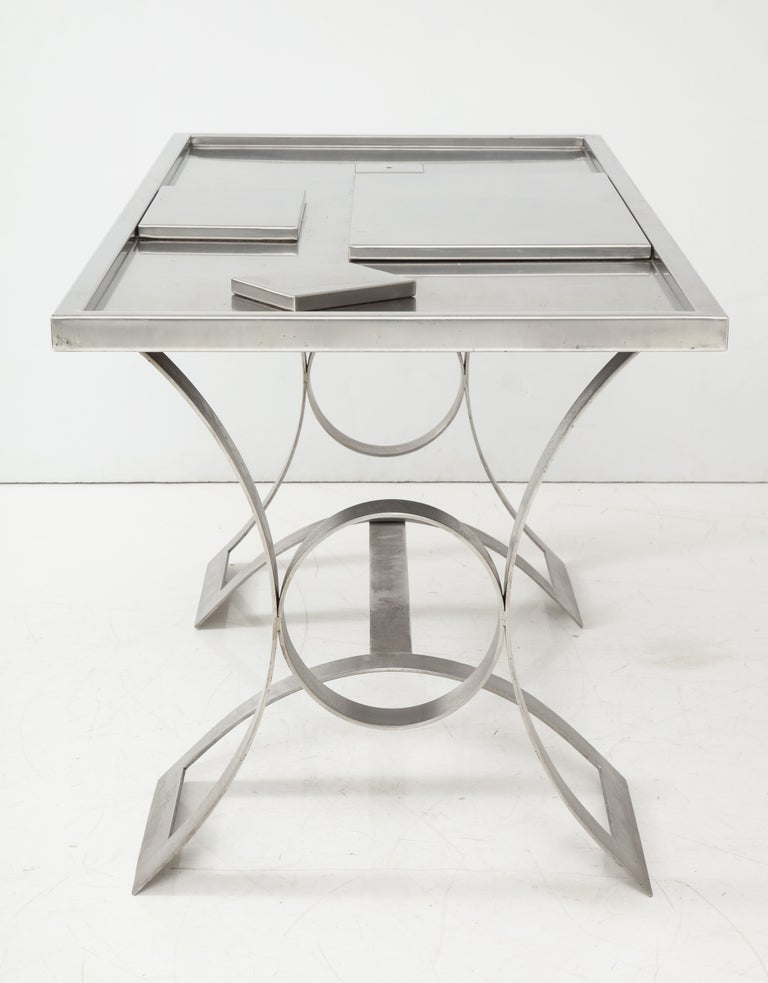 Rare Stainless Steel Table with Smoked Grey Glass Top, France, circa 1970 For Sale 10