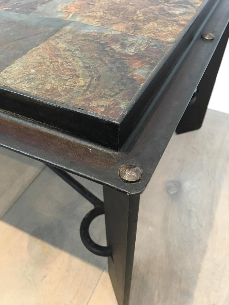 Rare Steel and Iron Coffee Table with Lava Stone Top, circa 1940 For Sale 7