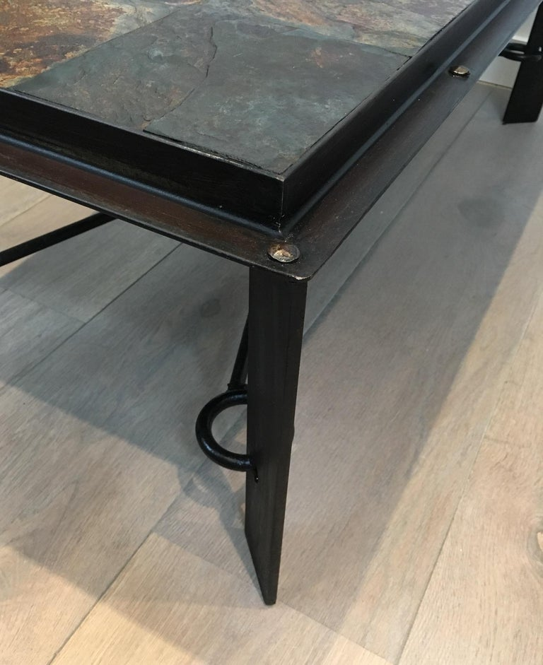 Rare Steel and Iron Coffee Table with Lava Stone Top, circa 1940 For Sale 8