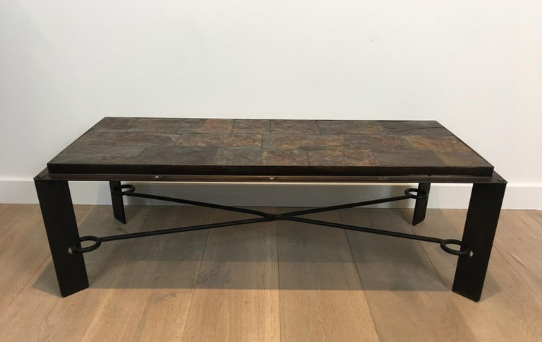 Rare Steel and Iron Coffee Table with Lava Stone Top, circa 1940 For Sale 9
