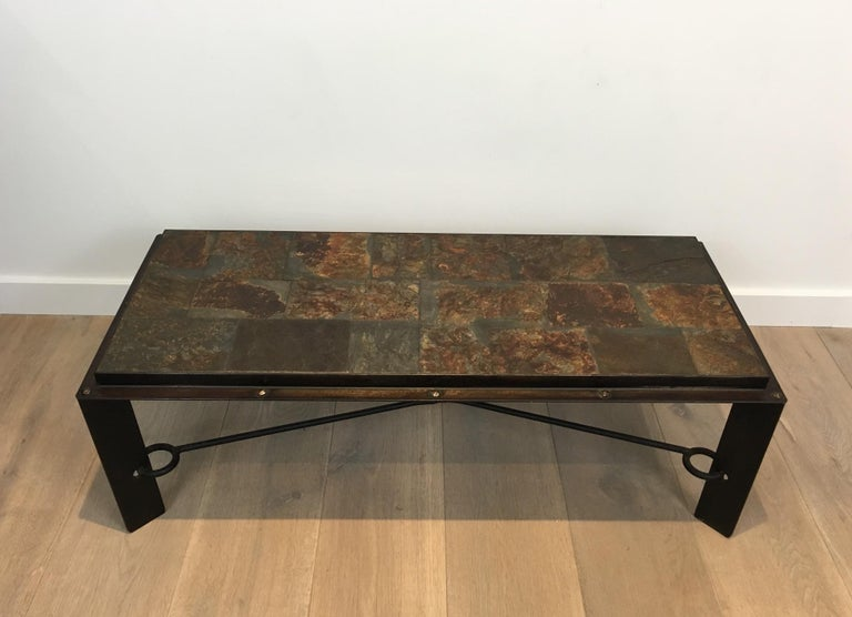 Rare Steel and Iron Coffee Table with Lava Stone Top, circa 1940 For Sale 10