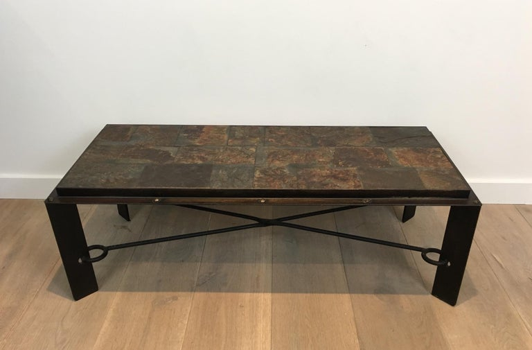 Mid-Century Modern Rare Steel and Iron Coffee Table with Lava Stone Top, circa 1940 For Sale