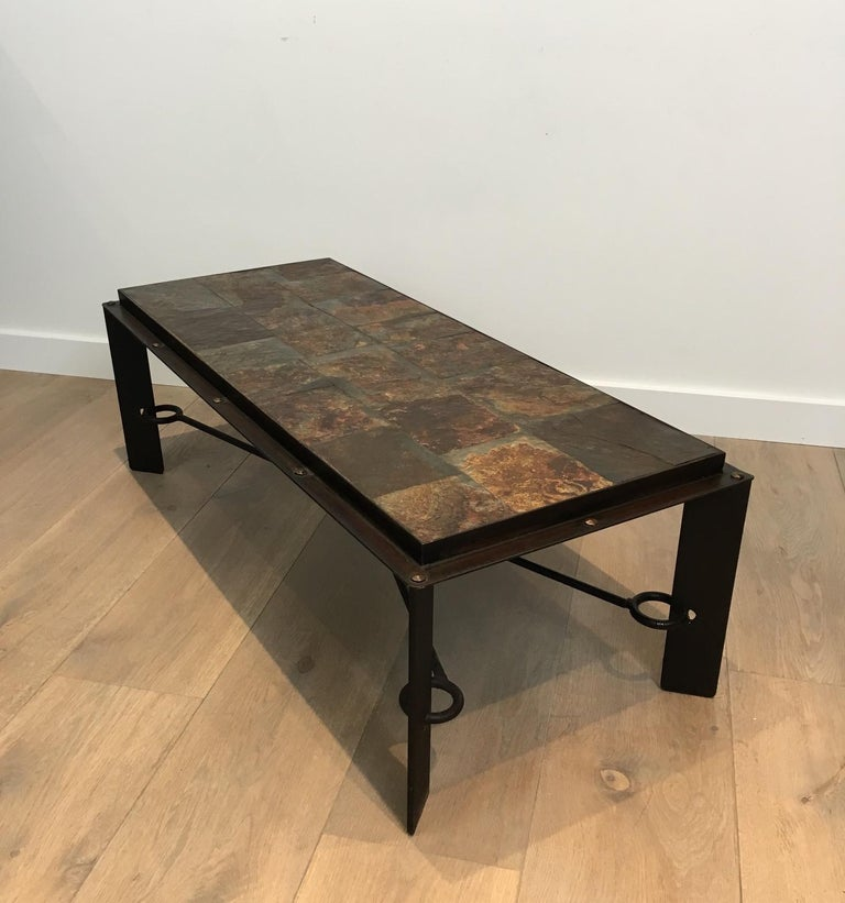 French Rare Steel and Iron Coffee Table with Lava Stone Top, circa 1940 For Sale