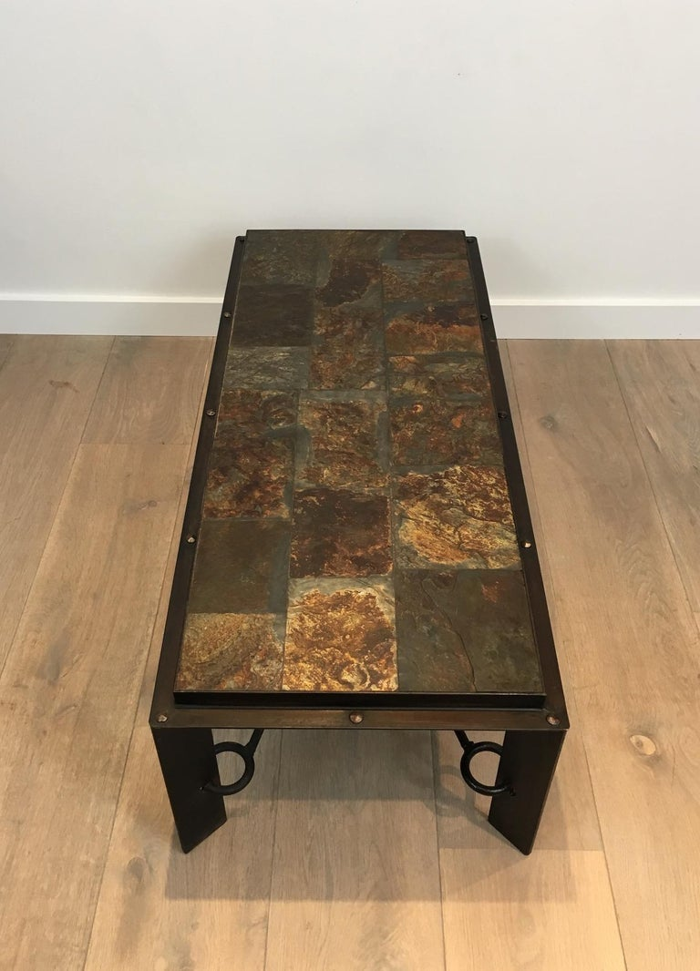Rare Steel and Iron Coffee Table with Lava Stone Top, circa 1940 In Good Condition For Sale In Marcq-en-Baroeul, FR