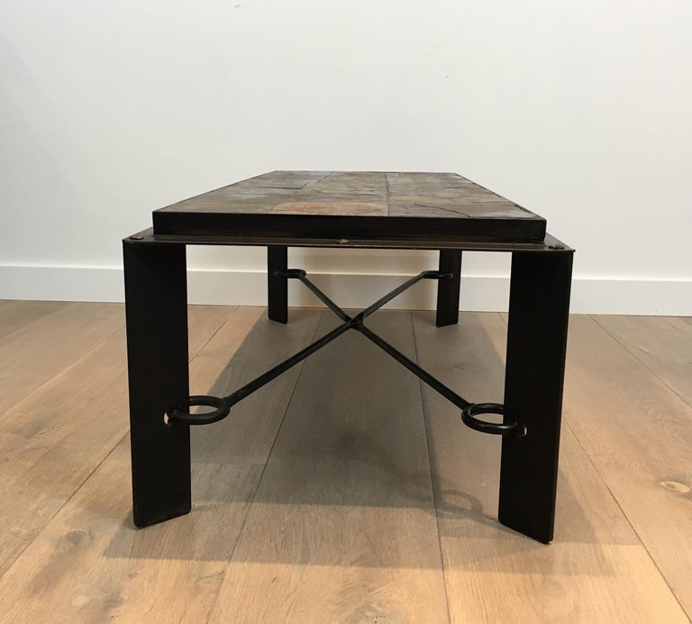 Mid-20th Century Rare Steel and Iron Coffee Table with Lava Stone Top, circa 1940 For Sale