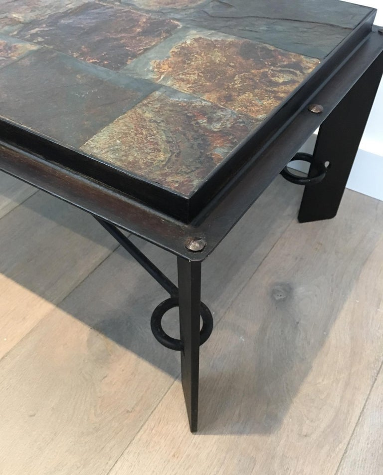 Rare Steel and Iron Coffee Table with Lava Stone Top, circa 1940 For Sale 3