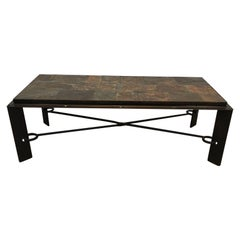 Rare Steel and Iron Coffee Table with Lava Stone Top, circa 1940