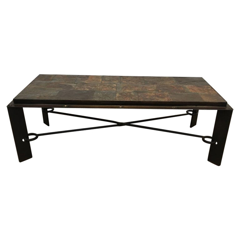 Rare Steel and Iron Coffee Table with Lava Stone Top, circa 1940 For Sale