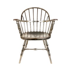 Rare Steel Nickel-Plated Windsor Style Philadelphia Library Chair, 1930