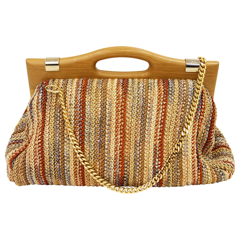 Rare Stella McCartney Multicolored Raffia Ribbonwork Handbag