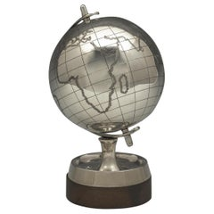 Rare Sterling Silver Desk Globe by Mappin and Webb, 1969