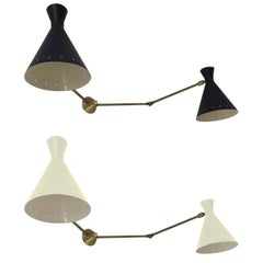 Rare Stilnovo 1950s Italian Double Wall Sconce, in Black and White