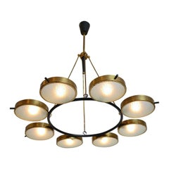Rare Stilnovo 8 Light Chandelier