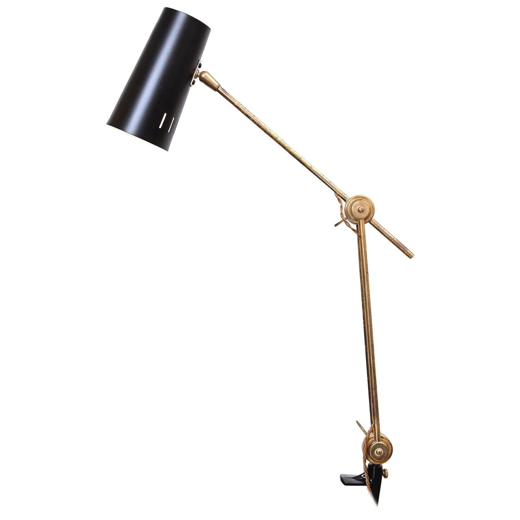 Rare Stilnovo Clamp Desk Lamp, circa 1950