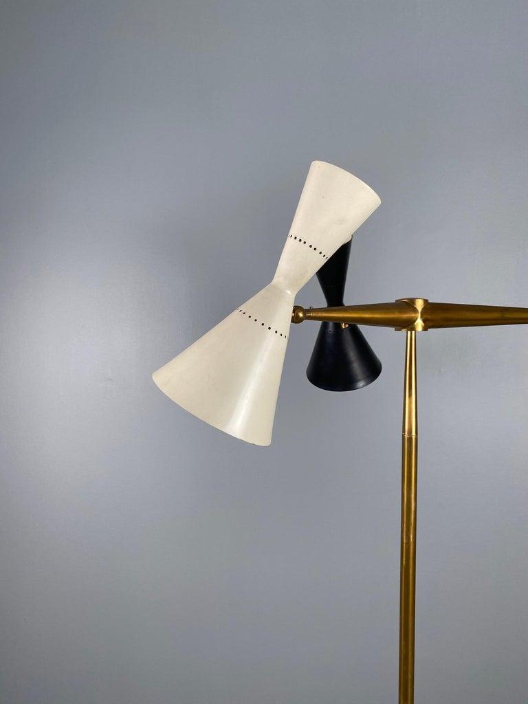 Rare Stilnovo Floor Lamp Three Arms Brass, Italy, 1950s For Sale 6