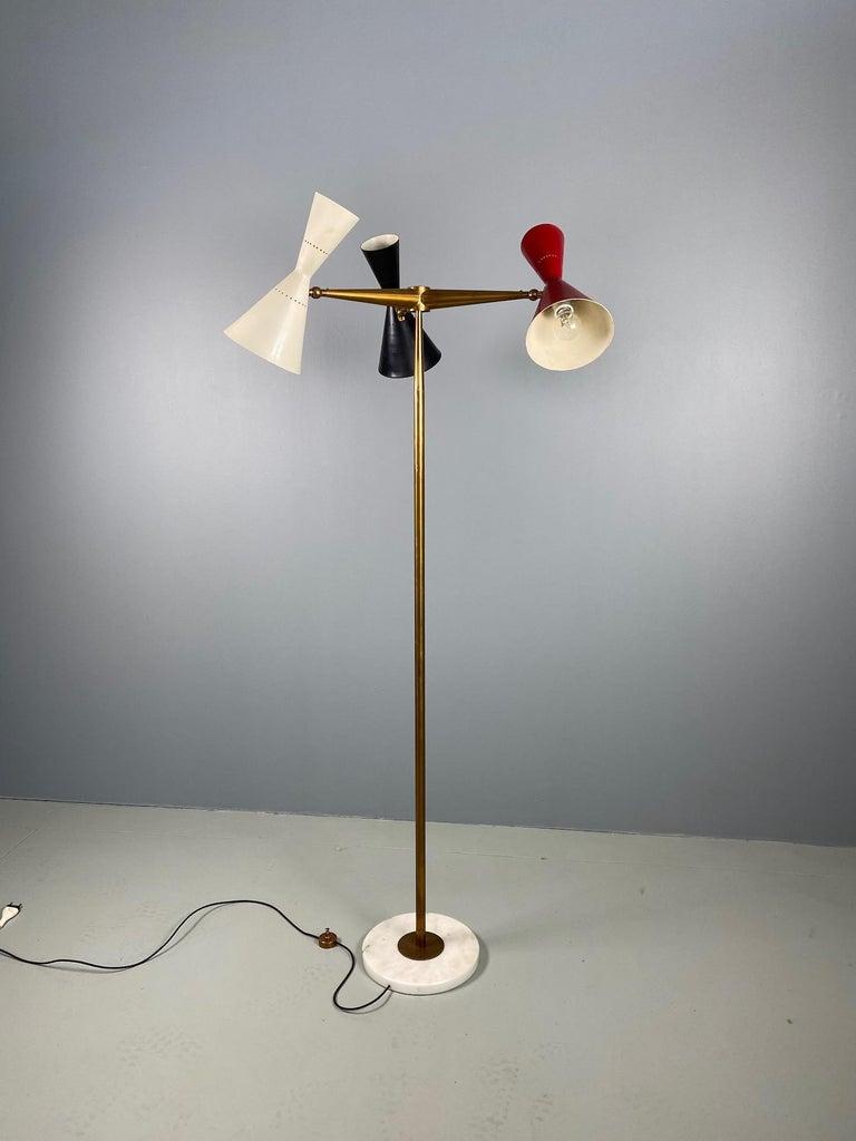 Rare Stilnovo Floor Lamp Three Arms Brass, Italy, 1950s For Sale 8