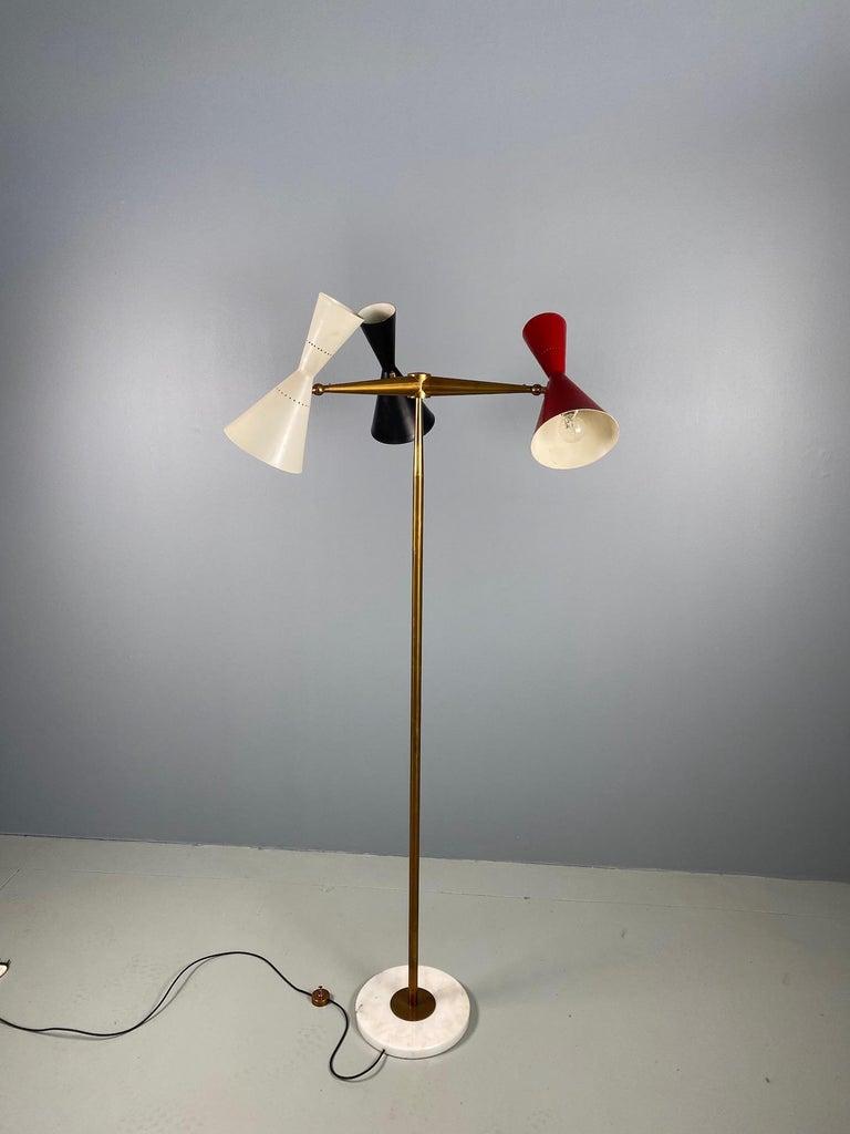 Rare Stilnovo Floor Lamp Three Arms Brass, Italy, 1950s For Sale 9