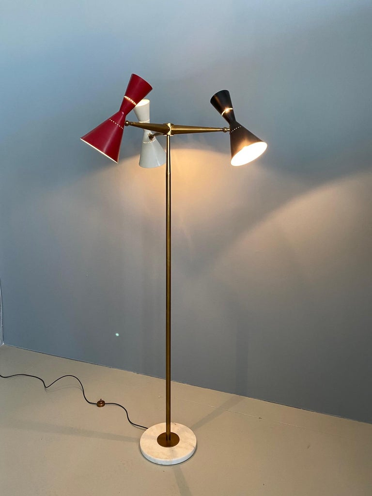 Rare stilnovo floor lamp three arms brass, Italy, 1950s.