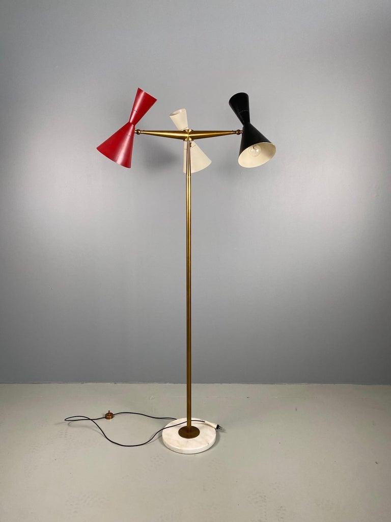 Italian Rare Stilnovo Floor Lamp Three Arms Brass, Italy, 1950s For Sale