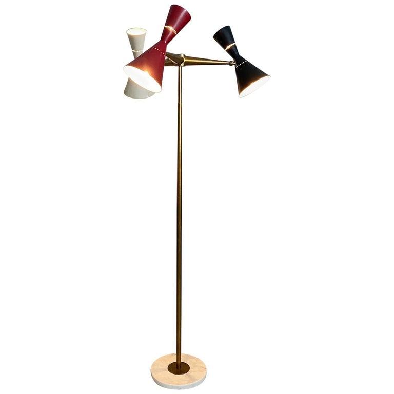 Rare Stilnovo Floor Lamp Three Arms Brass, Italy, 1950s For Sale