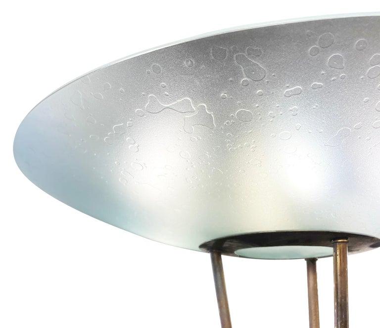 Mid-Century Modern Rare Stilnovo Floor Lamp with Textured Glass, Marked For Sale