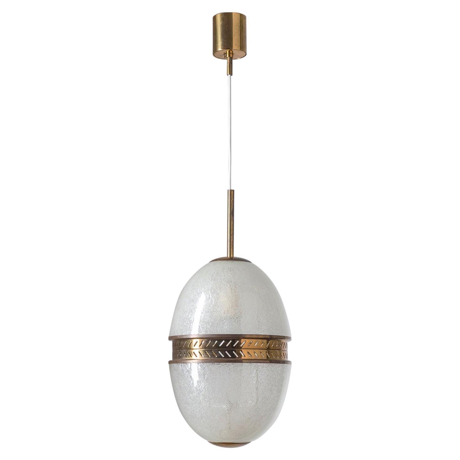 Rare Stilnovo Pendant, 1950s, Pulegoso Glass and Brass