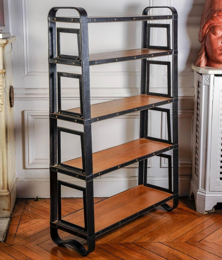French Rare Stitched Leather Bookcase by Jacques Adnet For Sale