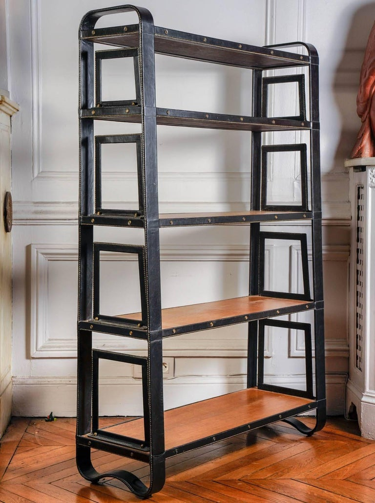 Rare Stitched Leather Bookcase by Jacques Adnet In Excellent Condition For Sale In Paris Saint Ouen, FR