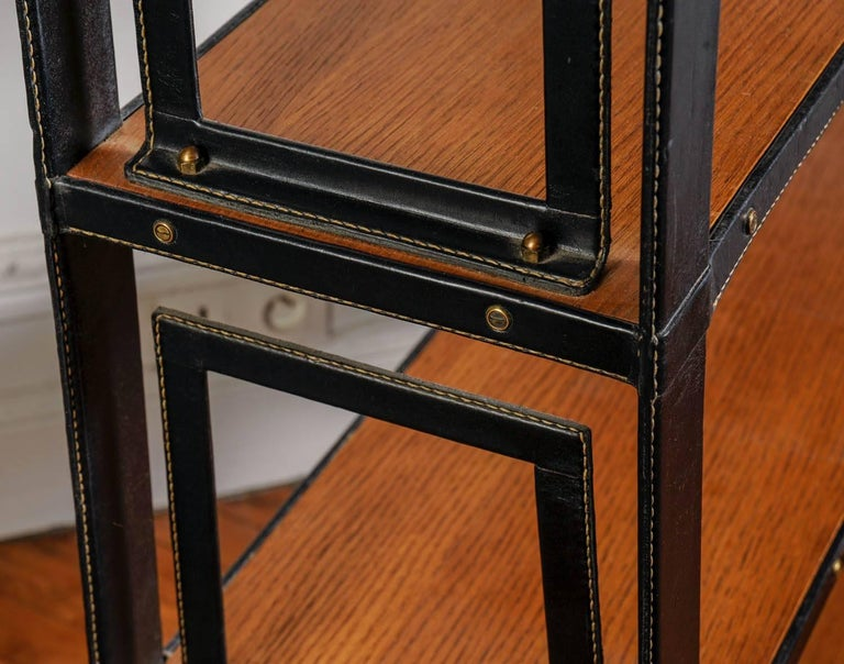Rare Stitched Leather Bookcase by Jacques Adnet For Sale 1