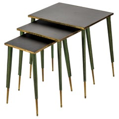 Rare Stitched Leather Nesting Tables by Jacques Adnet