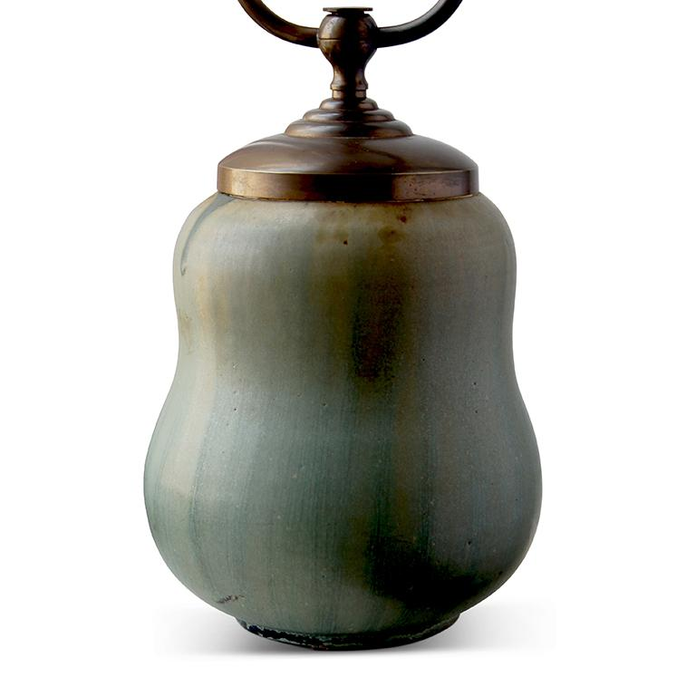 """Exceptional table lamp with compact double gourd form (cinched sphere) on a reveal foot, in stoneware glazed in gauzy strokes of bluish greens and green-brown, Denmark, 1920s-1930s. Painted artist mark and model number """"45.""""  Arne Bang"""