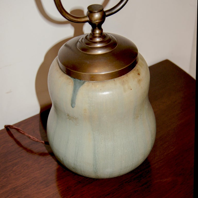 Danish Rare Stout Double Gourd Table Lamp with Brushy Glazing by Arne Bang For Sale