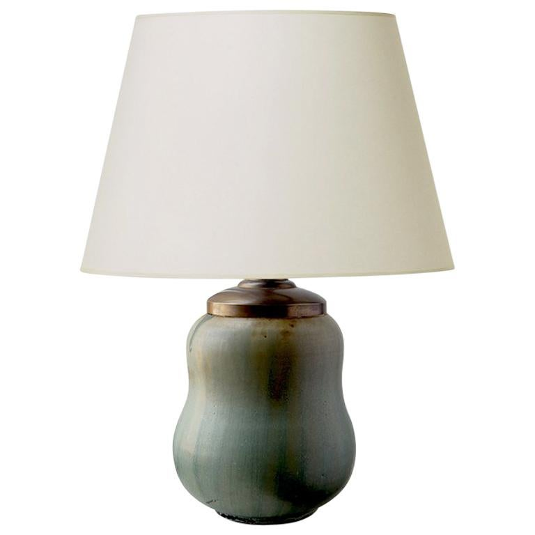 Rare Stout Double Gourd Table Lamp with Brushy Glazing by Arne Bang For Sale
