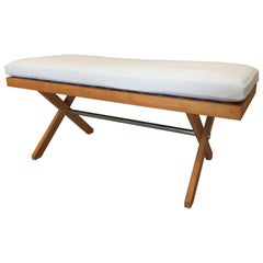 Rare Strap Midcentury Bench in Style of Pierre Jeanneret
