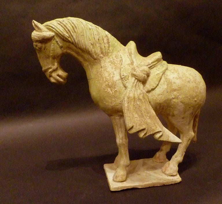 Tang Rare Straw Glazed Sui Dynasty Pottery Statue of Standing Horse, Oxford TL Tested For Sale