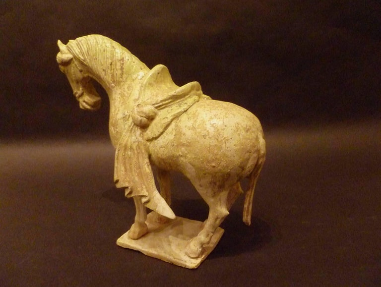 Chinese Rare Straw Glazed Sui Dynasty Pottery Statue of Standing Horse, Oxford TL Tested For Sale
