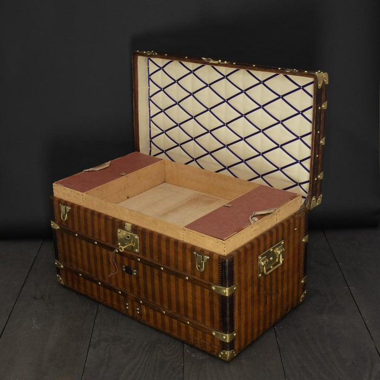 French Rare Striped Louis Vuitton Trunk, circa 1885 For Sale