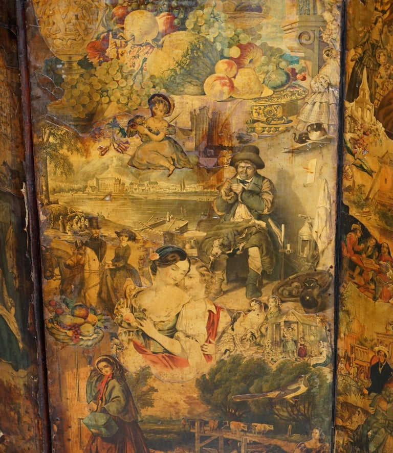 Rare Stunning 19th-20th Century Romantic Decoupage Four-Panel Folding Screen For Sale 3