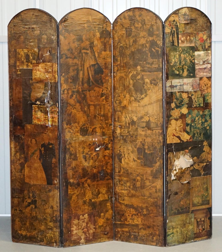 Rare Stunning 19th-20th Century Romantic Decoupage Four-Panel Folding Screen For Sale 4