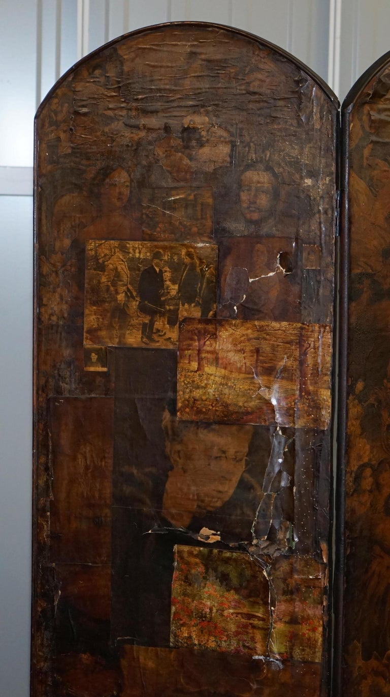 Rare Stunning 19th-20th Century Romantic Decoupage Four-Panel Folding Screen For Sale 5