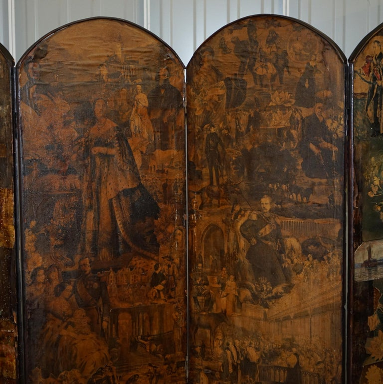 Rare Stunning 19th-20th Century Romantic Decoupage Four-Panel Folding Screen For Sale 7