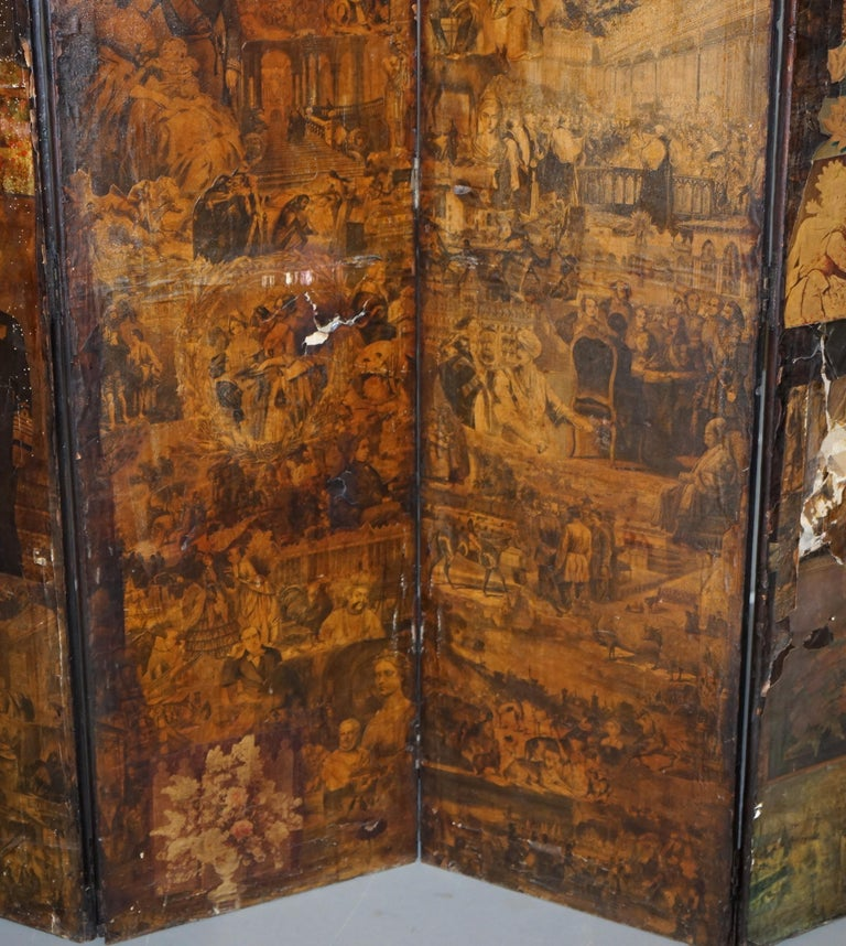 Rare Stunning 19th-20th Century Romantic Decoupage Four-Panel Folding Screen For Sale 8