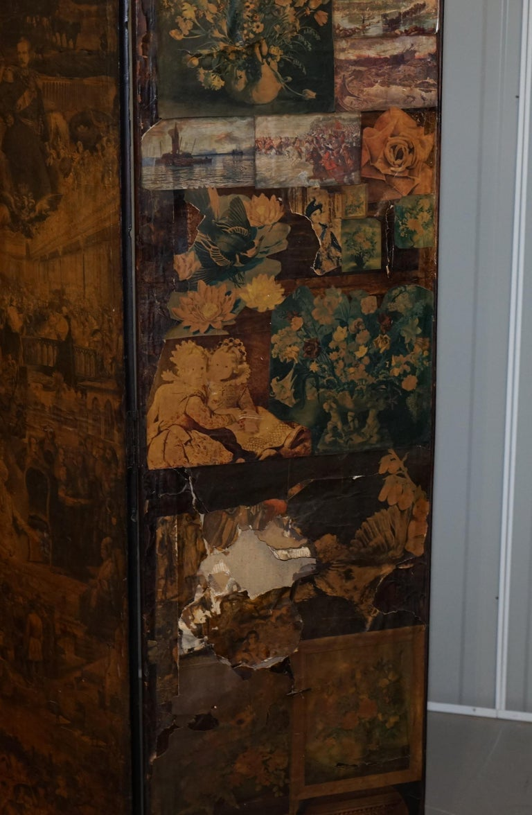 Rare Stunning 19th-20th Century Romantic Decoupage Four-Panel Folding Screen For Sale 9