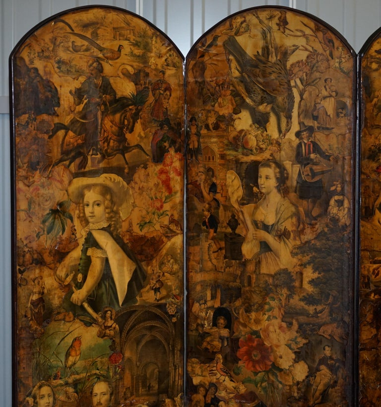 We are delighted to offer for sale this very decorative hand made Victorian to Edwardian four-panel Decoupage folding screen