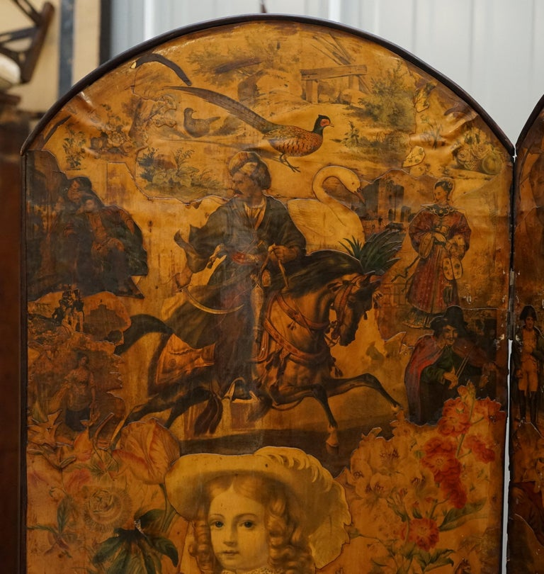 Late Victorian Rare Stunning 19th-20th Century Romantic Decoupage Four-Panel Folding Screen For Sale