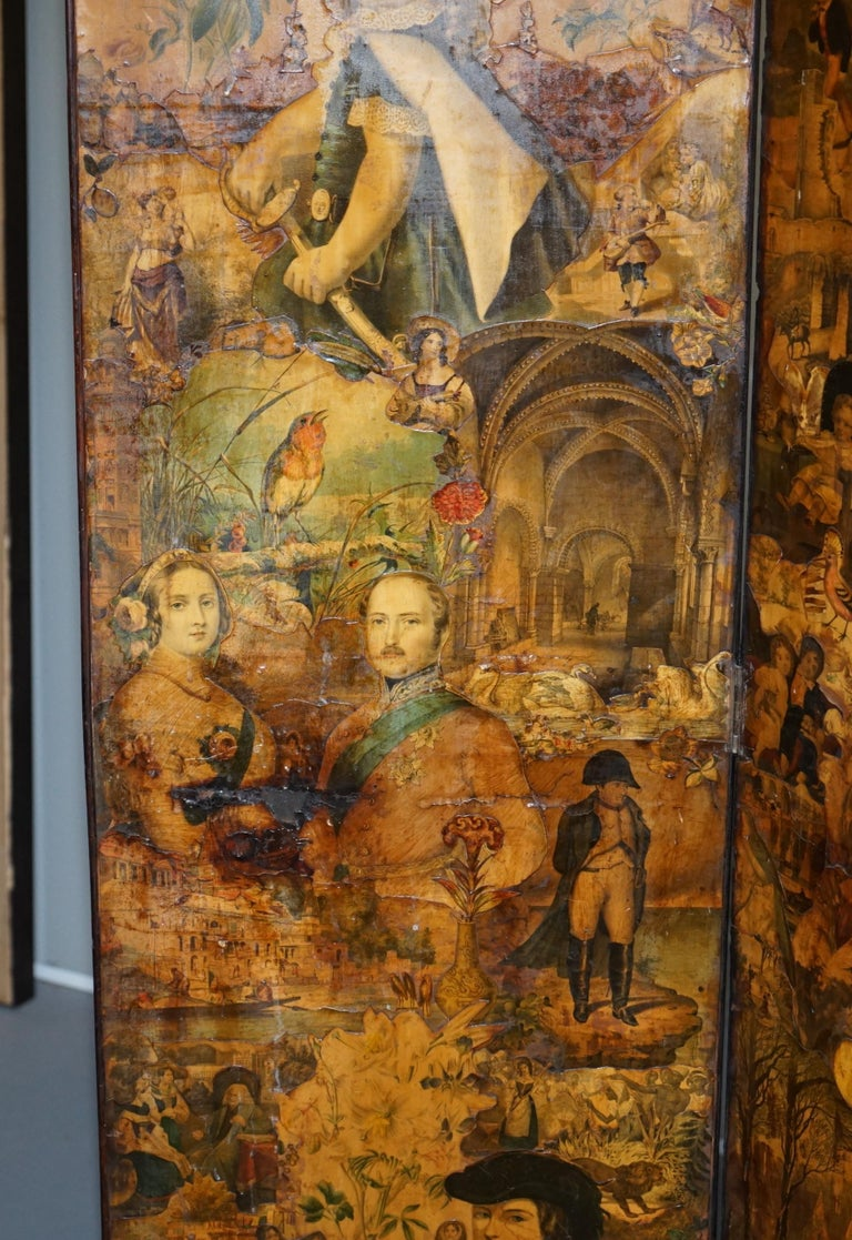 English Rare Stunning 19th-20th Century Romantic Decoupage Four-Panel Folding Screen For Sale