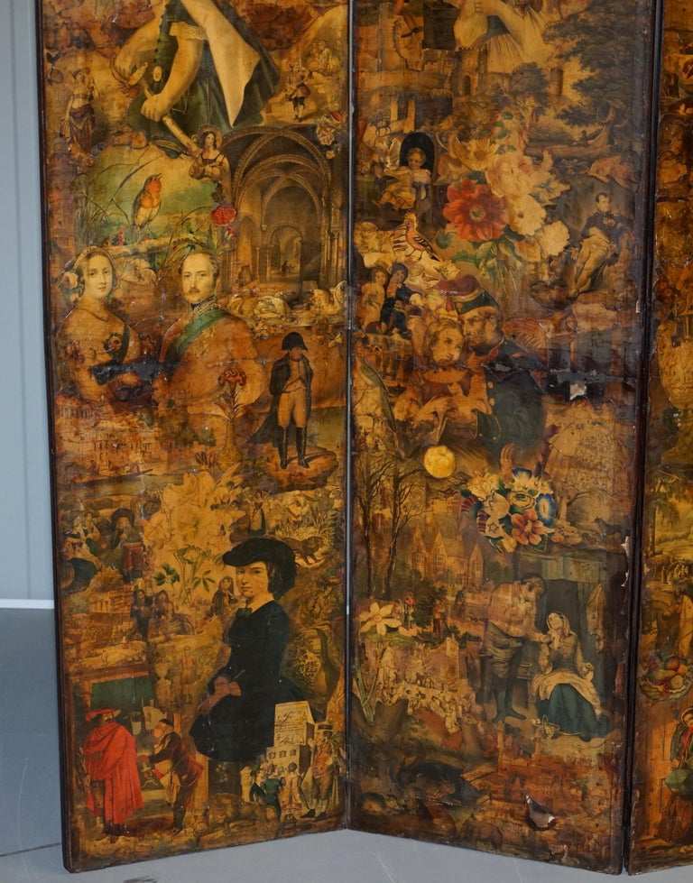 Hand-Carved Rare Stunning 19th-20th Century Romantic Decoupage Four-Panel Folding Screen For Sale