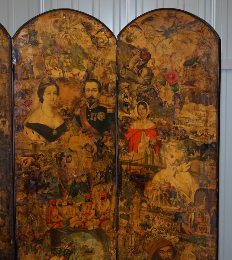 Rare Stunning 19th-20th Century Romantic Decoupage Four-Panel Folding Screen In Distressed Condition For Sale In London, GB
