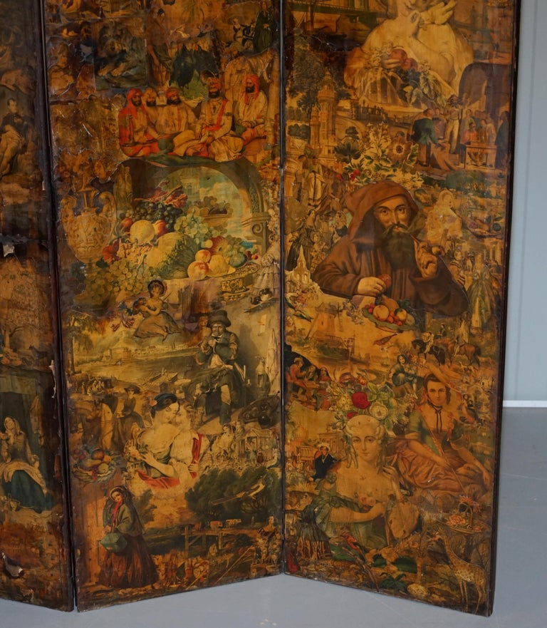 19th Century Rare Stunning 19th-20th Century Romantic Decoupage Four-Panel Folding Screen For Sale